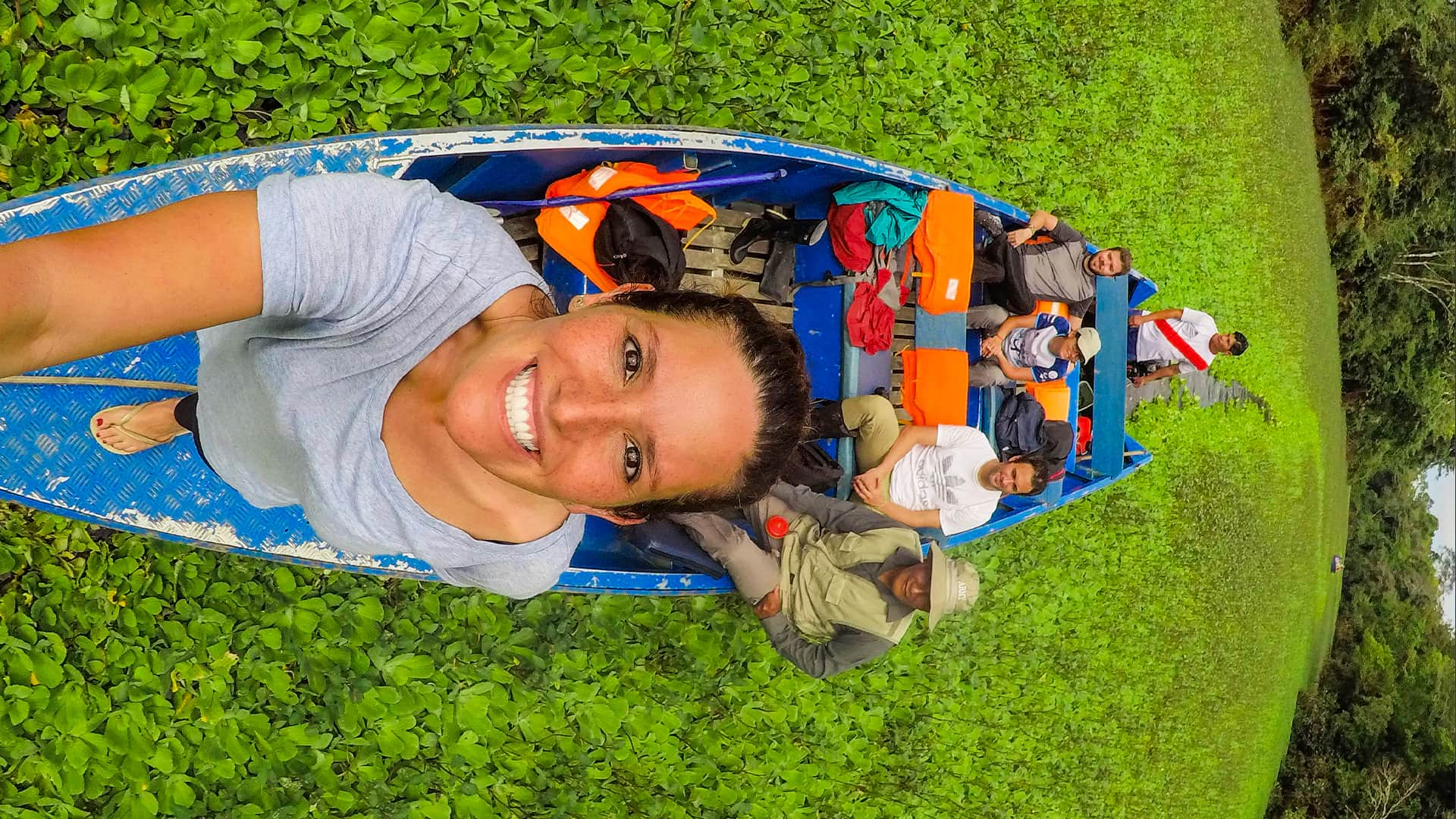 11Selfie from the tip of the boat surrounded by aquatic vegetation   Responsible Travel Peru