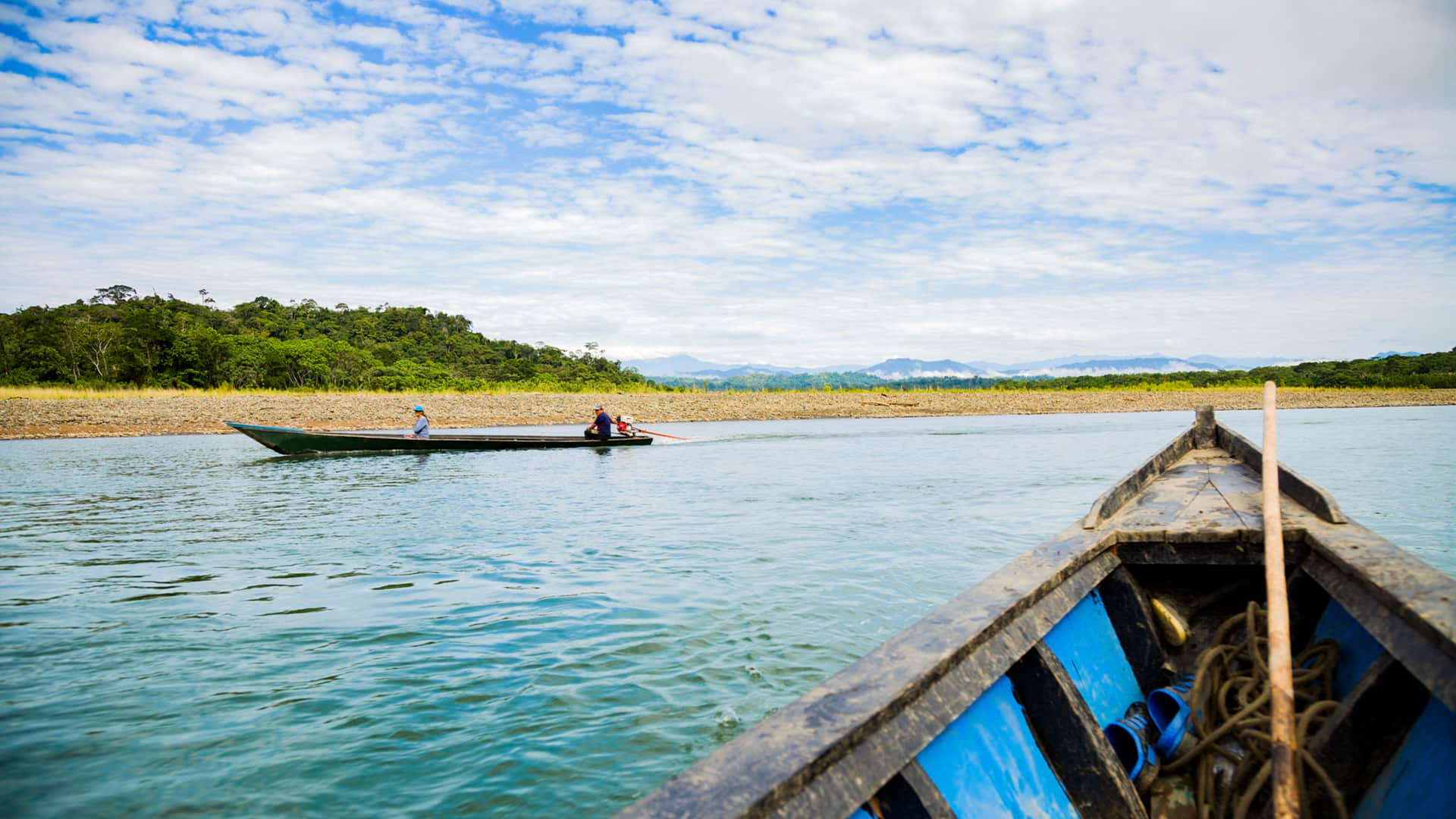 11Boat view over the Alto Madre de Dios river departing from Shintuya's port | Responsible Travel Peru